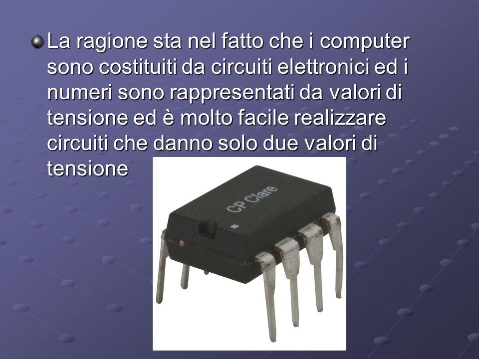 La ragione sta nel fatto che i computer sono costituiti da circuiti elettronici ed i numeri sono rappresentati da valori di tensione ed è molto facile