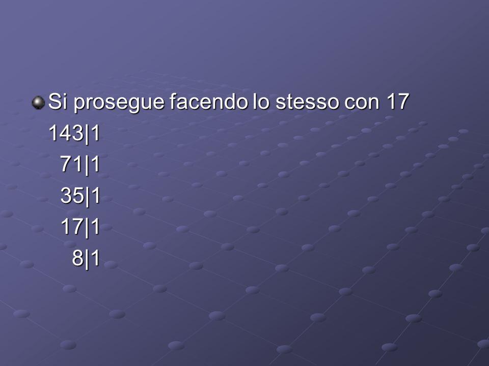 Si prosegue facendo lo stesso con 17 143|1 143|1 71|1 71|1 35|1 35|1 17|1 17|1 8|1 8|1