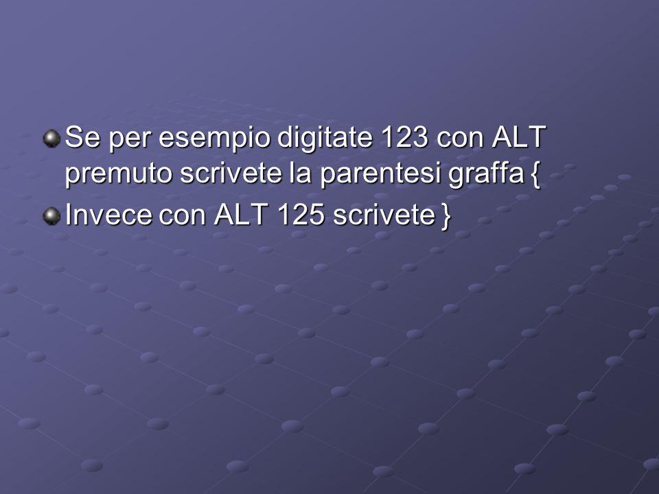 Se per esempio digitate 123 con ALT premuto scrivete la parentesi graffa { Invece con ALT 125 scrivete }