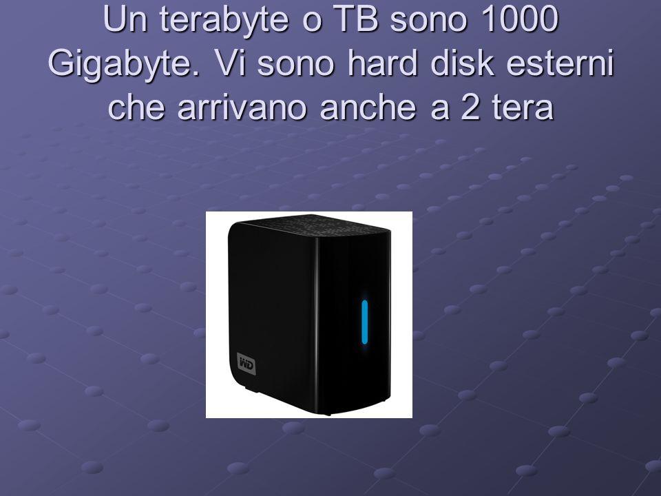 Un terabyte o TB sono 1000 Gigabyte. Vi sono hard disk esterni che arrivano anche a 2 tera