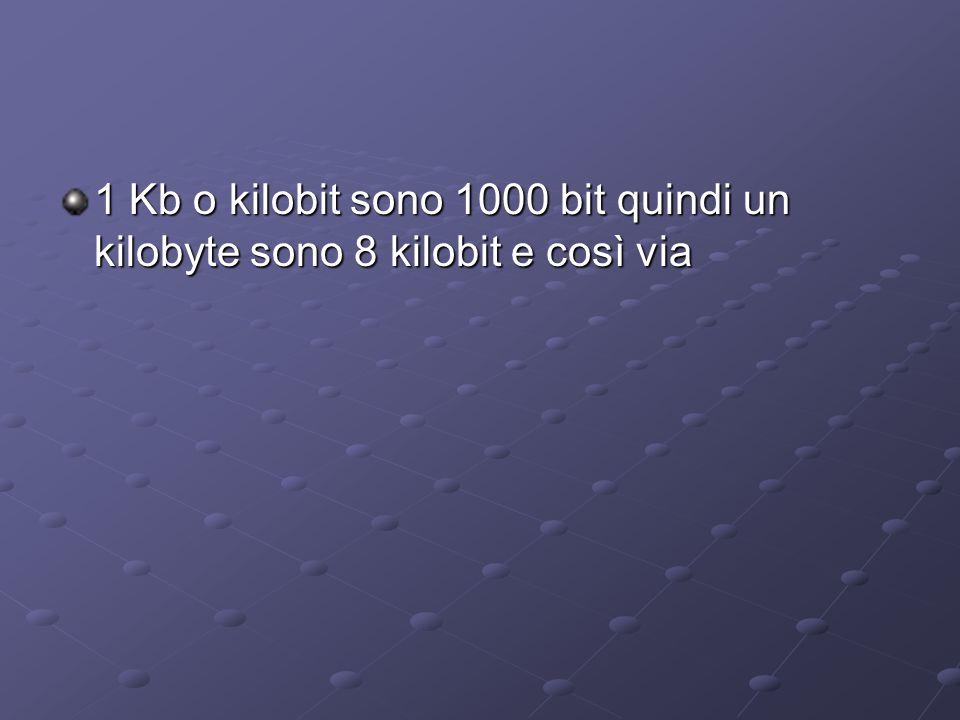 1 Kb o kilobit sono 1000 bit quindi un kilobyte sono 8 kilobit e così via