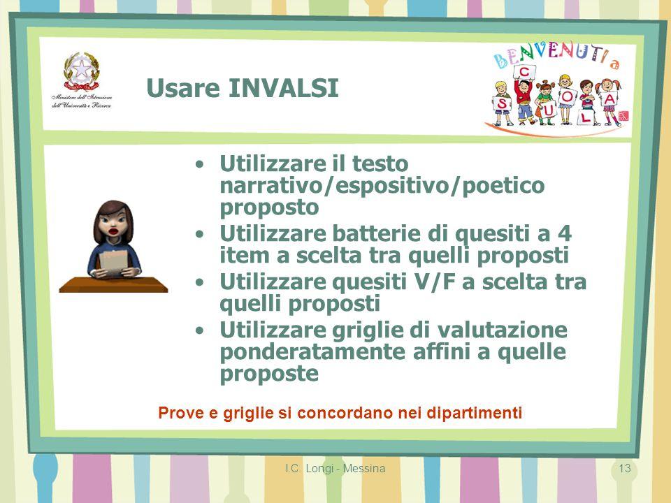 I.C. Longi - Messina13 Usare INVALSI Prove e griglie si concordano nei dipartimenti Utilizzare il testo narrativo/espositivo/poetico proposto Utilizza