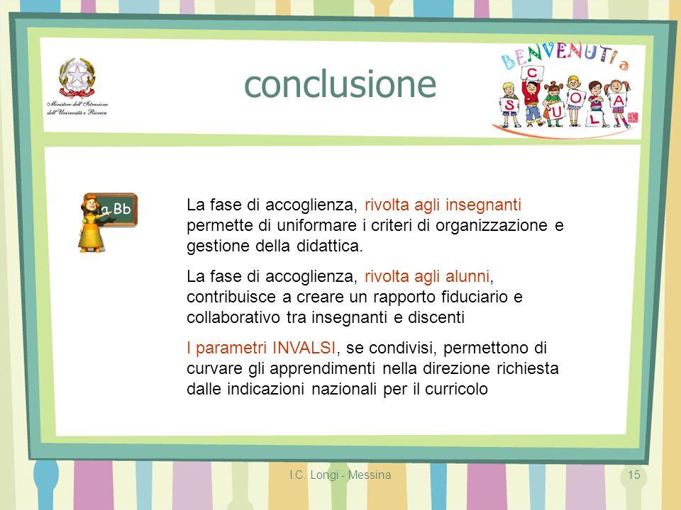 I.C. Longi - Messina15 conclusione La fase di accoglienza, rivolta agli insegnanti permette di uniformare i criteri di organizzazione e gestione della