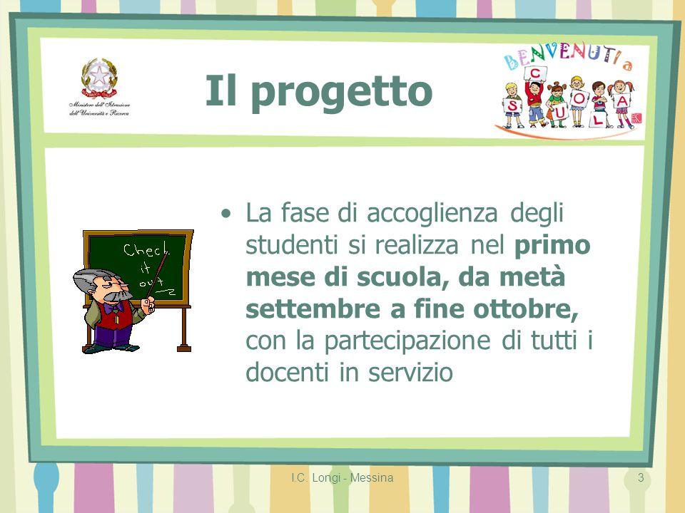 I.C. Longi - Messina3 Il progetto La fase di accoglienza degli studenti si realizza nel primo mese di scuola, da metà settembre a fine ottobre, con la