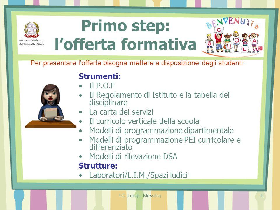 I.C. Longi - Messina6 Primo step: l'offerta formativa Strumenti: Il P.O.F Il Regolamento di Istituto e la tabella del disciplinare La carta dei serviz