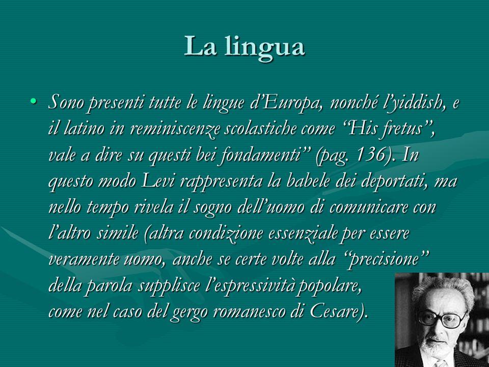La lingua Sono presenti tutte le lingue d'Europa, nonché l'yiddish, e il latino in reminiscenze scolastiche come His fretus , vale a dire su questi bei fondamenti (pag.