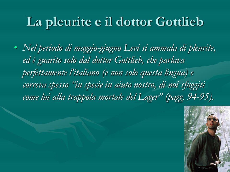 La pleurite e il dottor Gottlieb Nel periodo di maggio-giugno Levi si ammala di pleurite, ed è guarito solo dal dottor Gottlieb, che parlava perfettamente l'italiano (e non solo questa lingua) e correva spesso in specie in aiuto nostro, di noi sfuggiti come lui alla trappola mortale del Lager (pagg.