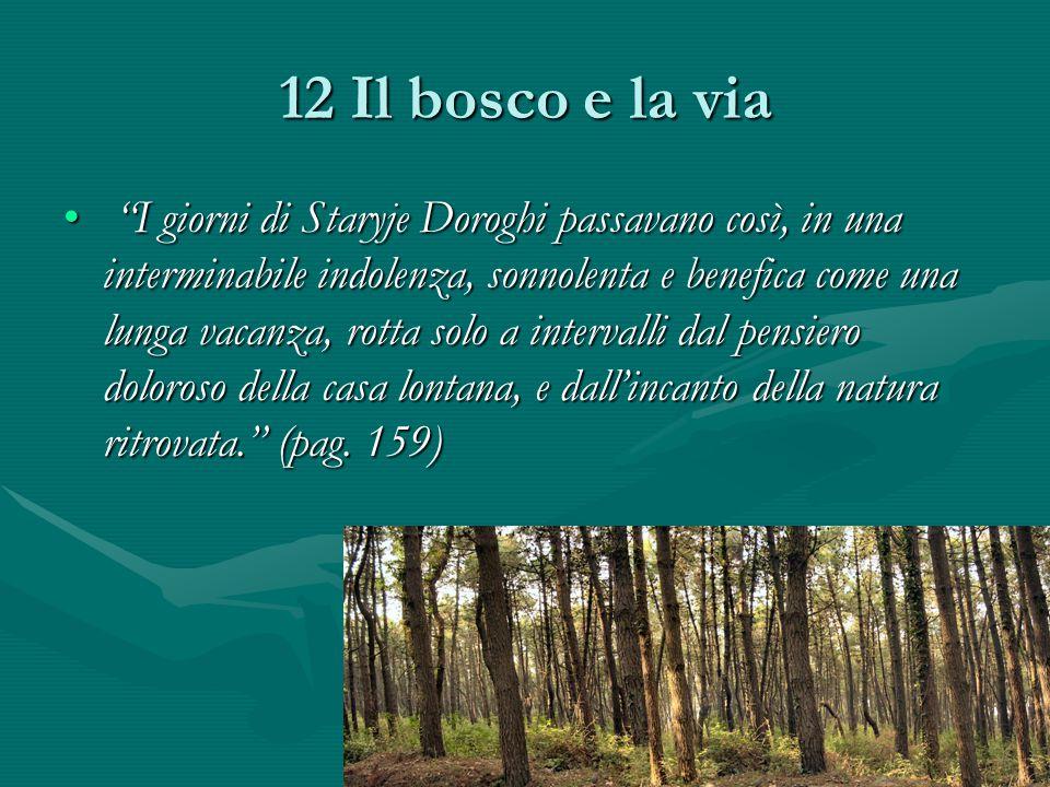 12 Il bosco e la via I giorni di Staryje Doroghi passavano così, in una interminabile indolenza, sonnolenta e benefica come una lunga vacanza, rotta solo a intervalli dal pensiero doloroso della casa lontana, e dall'incanto della natura ritrovata. (pag.