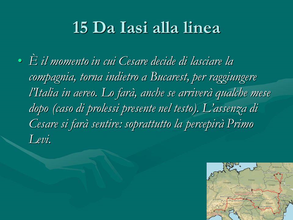 15 Da Iasi alla linea È il momento in cui Cesare decide di lasciare la compagnia, torna indietro a Bucarest, per raggiungere l'Italia in aereo.