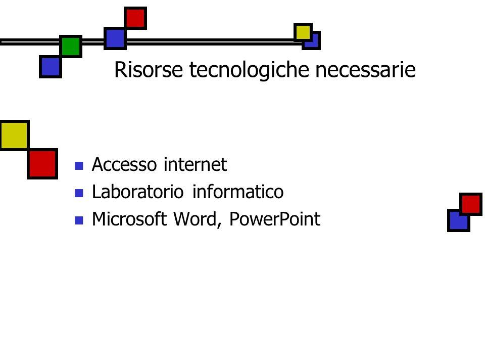 Risorse tecnologiche necessarie Accesso internet Laboratorio informatico Microsoft Word, PowerPoint