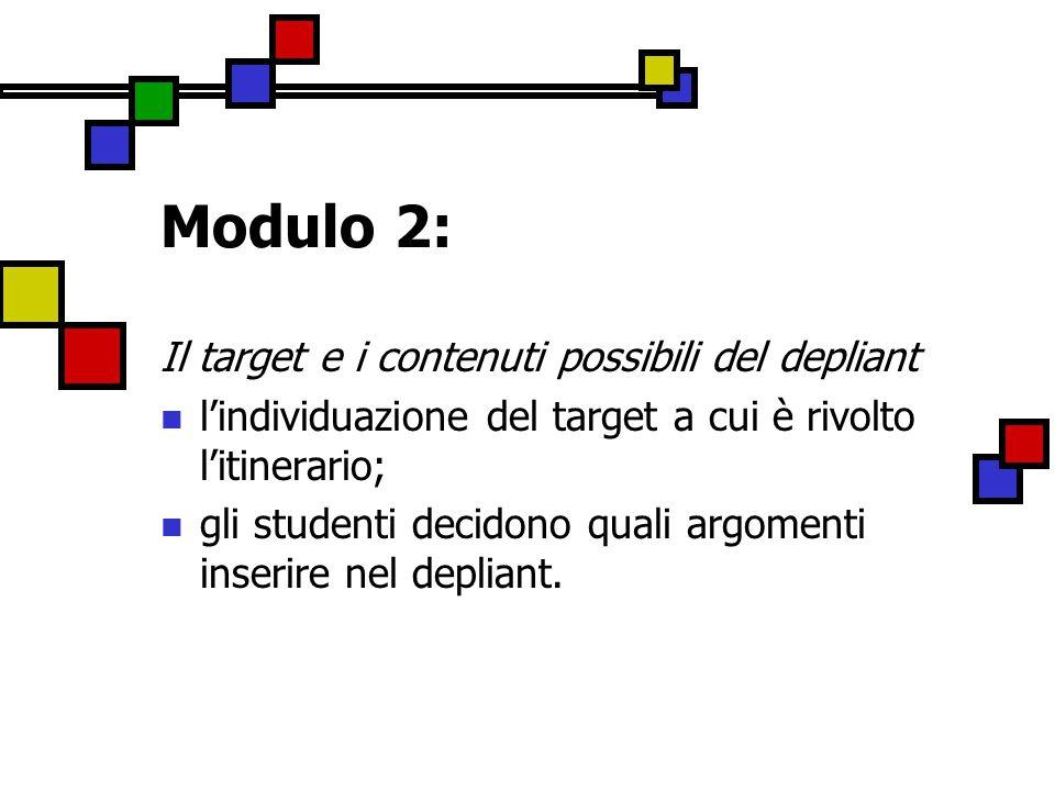 Modulo 2: Il target e i contenuti possibili del depliant l'individuazione del target a cui è rivolto l'itinerario; gli studenti decidono quali argomenti inserire nel depliant.