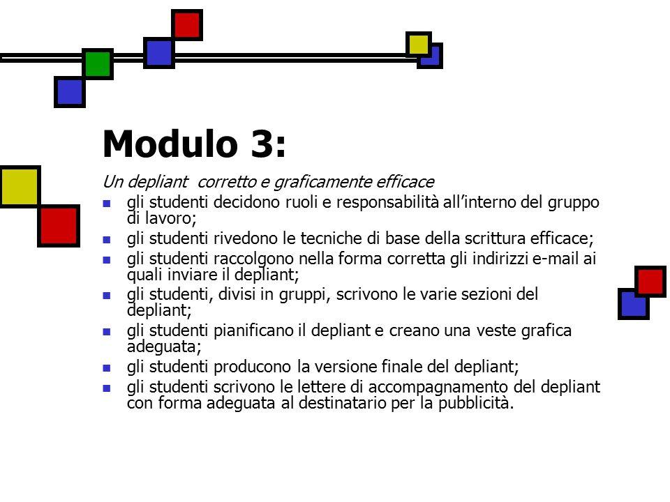 Modulo 3: Un depliant corretto e graficamente efficace gli studenti decidono ruoli e responsabilità all'interno del gruppo di lavoro; gli studenti rivedono le tecniche di base della scrittura efficace; gli studenti raccolgono nella forma corretta gli indirizzi e-mail ai quali inviare il depliant; gli studenti, divisi in gruppi, scrivono le varie sezioni del depliant; gli studenti pianificano il depliant e creano una veste grafica adeguata; gli studenti producono la versione finale del depliant; gli studenti scrivono le lettere di accompagnamento del depliant con forma adeguata al destinatario per la pubblicità.