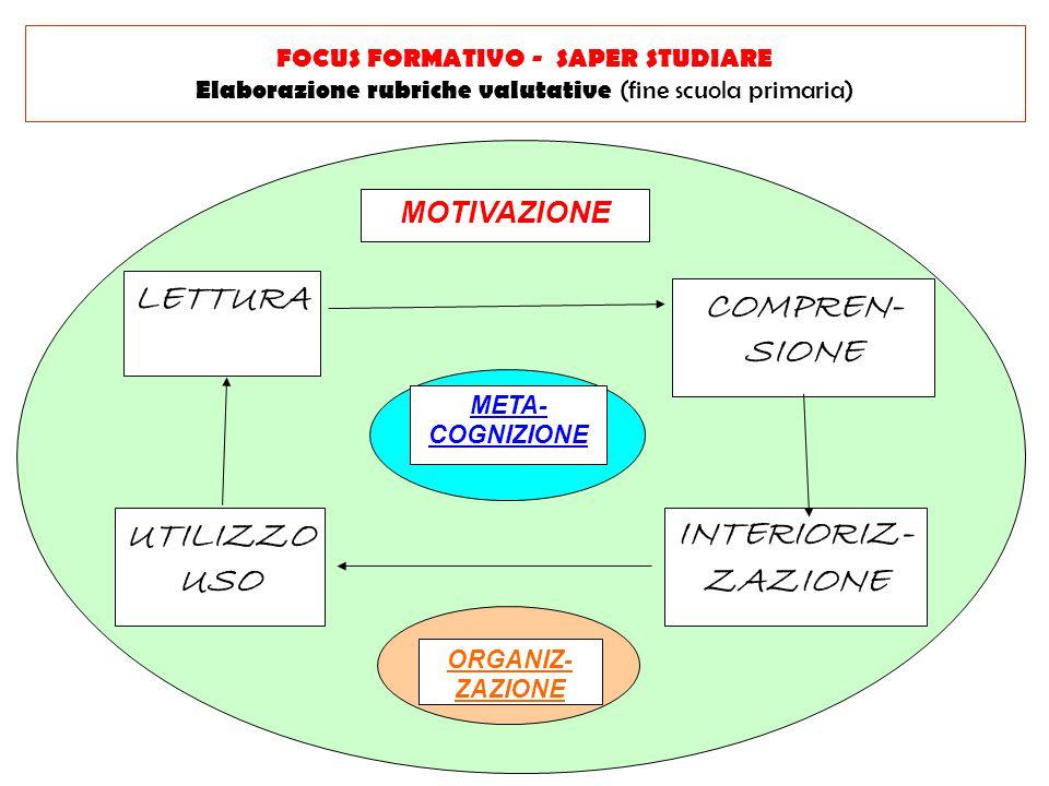 MOTIVAZIONE META- COGNIZIONE ORGANIZ- ZAZIONE LETTURA COMPREN- SIONE UTILIZZO USO INTERIORIZ- ZAZIONE FOCUS FORMATIVO - SAPER STUDIARE Elaborazione ru