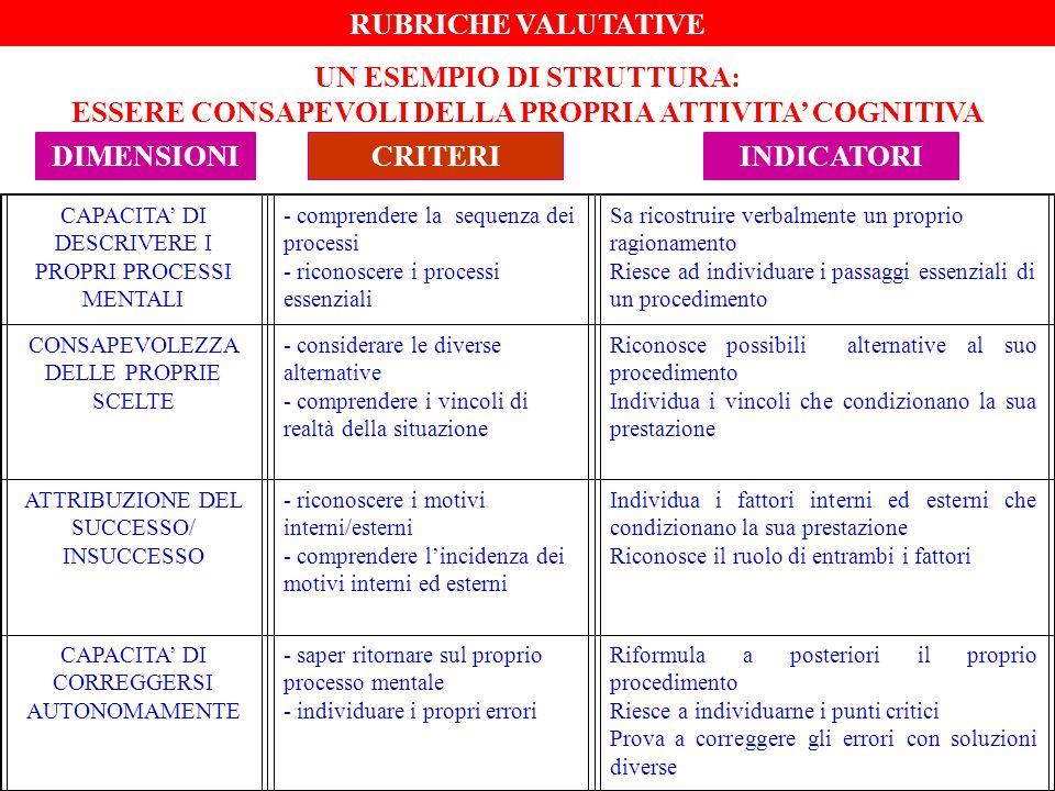 CAPACITA' DI DESCRIVERE I PROPRI PROCESSI MENTALI - comprendere la sequenza dei processi - riconoscere i processi essenziali Sa ricostruire verbalment