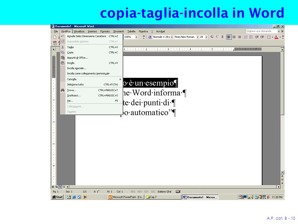A.P. cat. B - 10 copia-taglia-incolla in Word