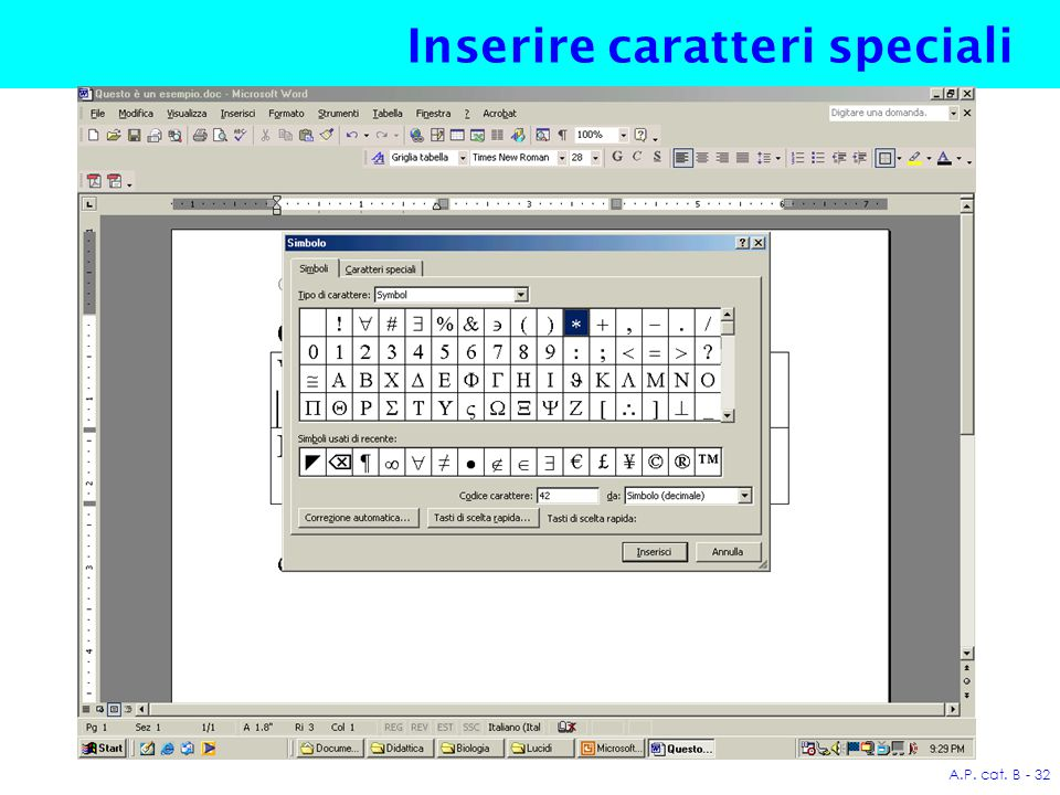 A.P. cat. B - 32 Inserire caratteri speciali