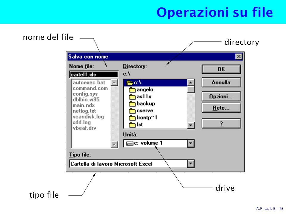 A.P. cat. B - 46 Operazioni su file tipo file drive directory nome del file
