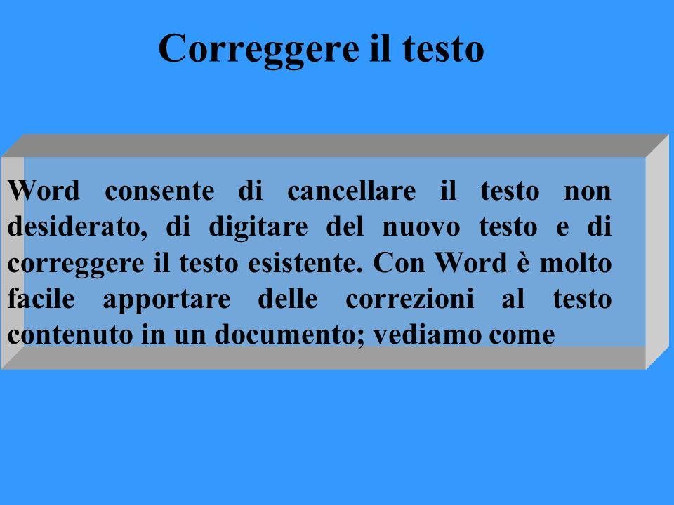 Correggere il testo Word consente di cancellare il testo non desiderato, di digitare del nuovo testo e di correggere il testo esistente. Con Word è mo
