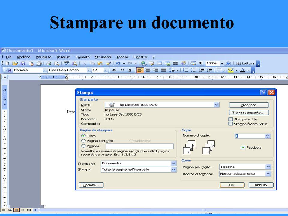 Stampare un documento Dopo aver aperto il documento che si vuole stampare basta seguire la seguente procedura A) Controllare che la stampante sia acce