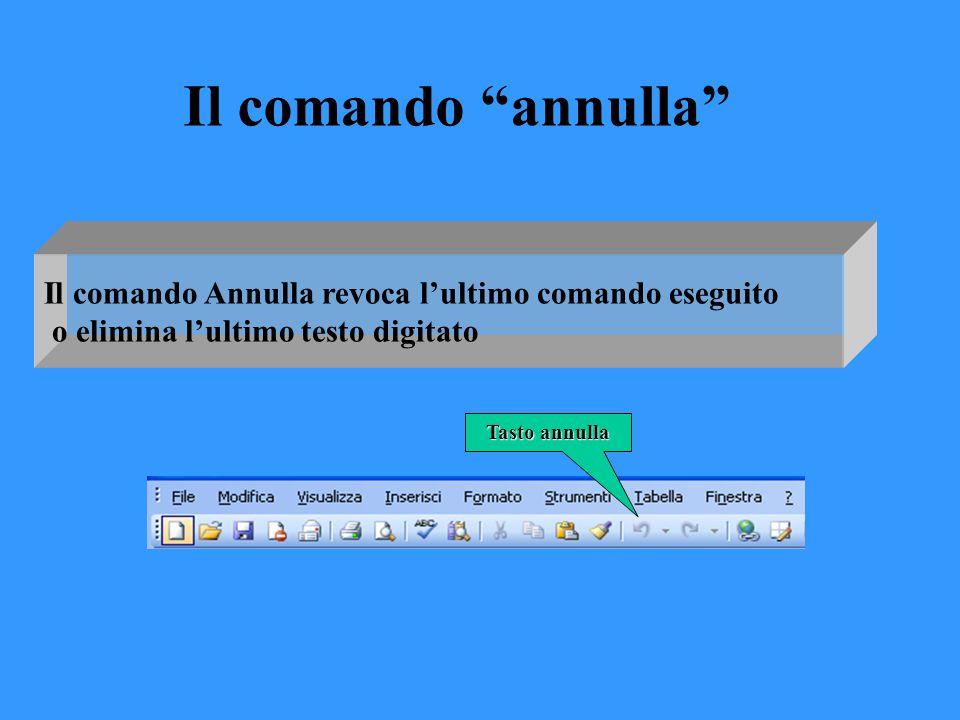 """Il comando Annulla revoca l'ultimo comando eseguito o elimina l'ultimo testo digitato Il comando """"annulla"""" Tasto annulla"""