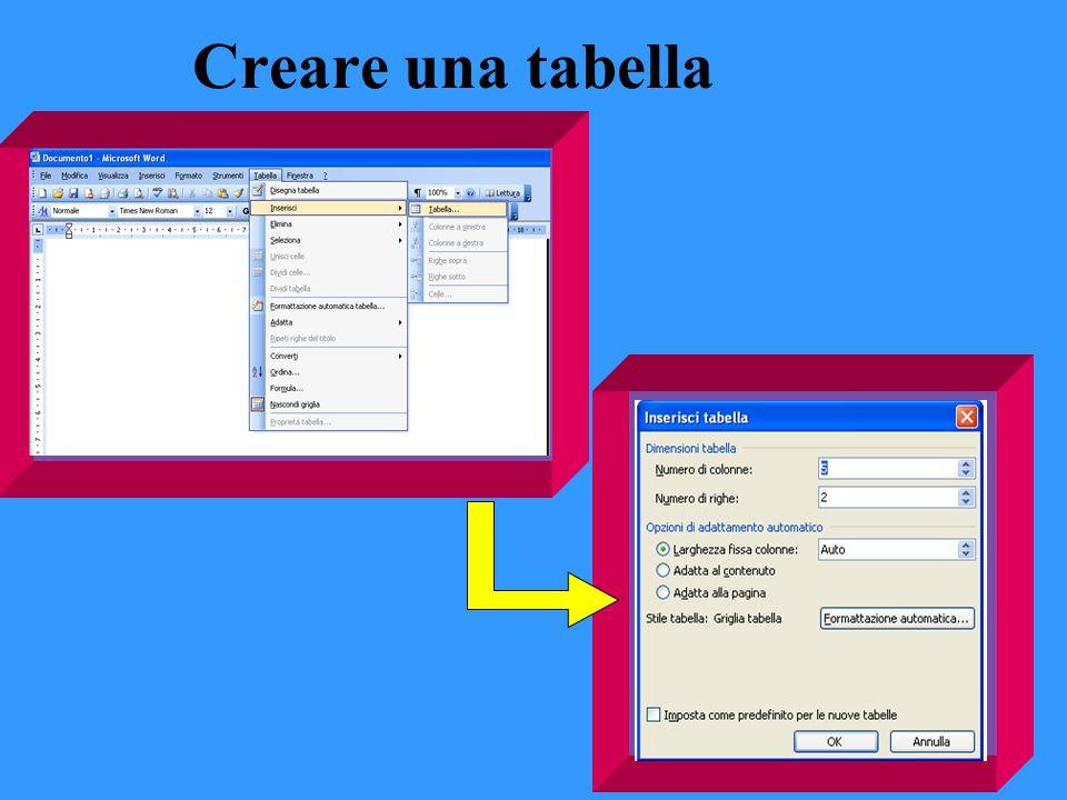 Creare una tabella