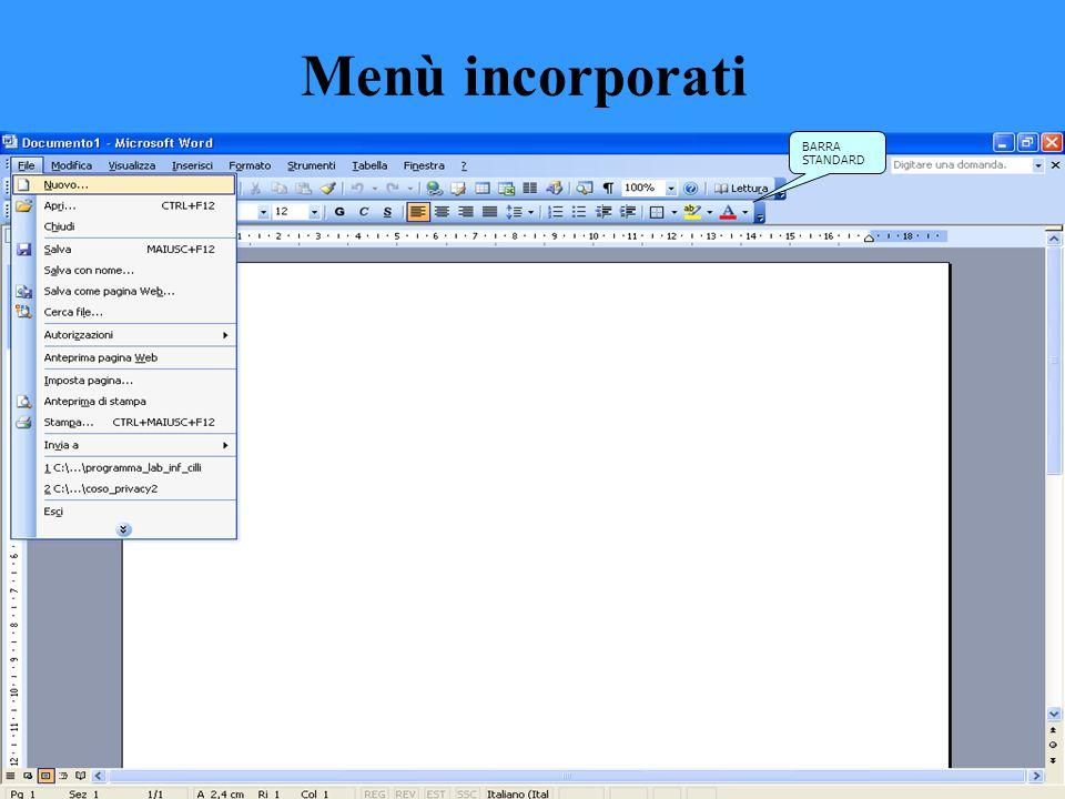 Menù incorporati Un menu include un elenco di comandi, alcuni dei quali sono affiancati da immagini facilmente associabili ai comandi corrispondenti P