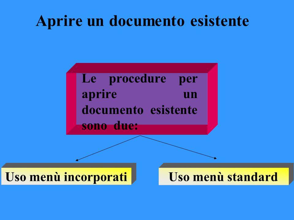 Menù incorporato Dopo aver avviato Word è sufficiente portarsi su: file apri selezionare il documento