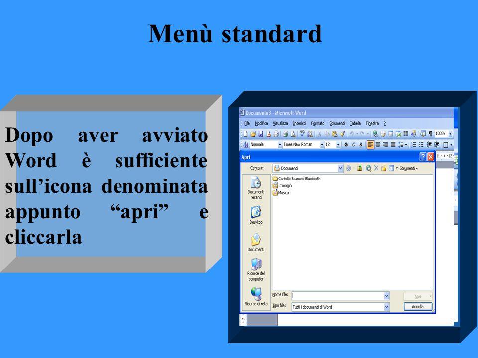 """Menù standard Dopo aver avviato Word è sufficiente sull'icona denominata appunto """"apri"""" e cliccarla"""