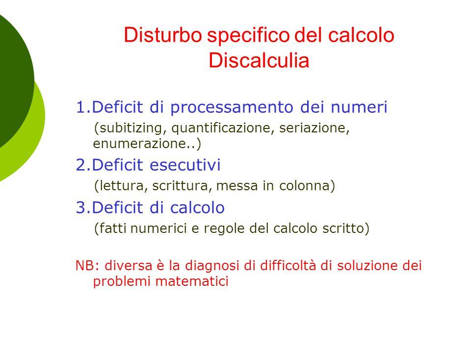 Disturbo specifico del calcolo Discalculia 1.Deficit di processamento dei numeri (subitizing, quantificazione, seriazione, enumerazione..) 2.Deficit e
