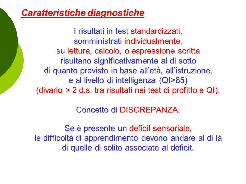 Caratteristiche diagnostiche I risultati in test standardizzati, somministrati individualmente, su lettura, calcolo, o espressione scritta risultano s