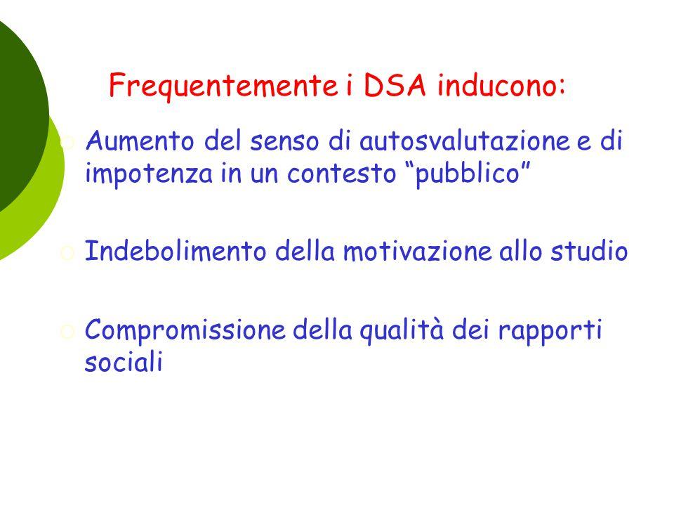"""Frequentemente i DSA inducono:  Aumento del senso di autosvalutazione e di impotenza in un contesto """"pubblico""""  Indebolimento della motivazione allo"""