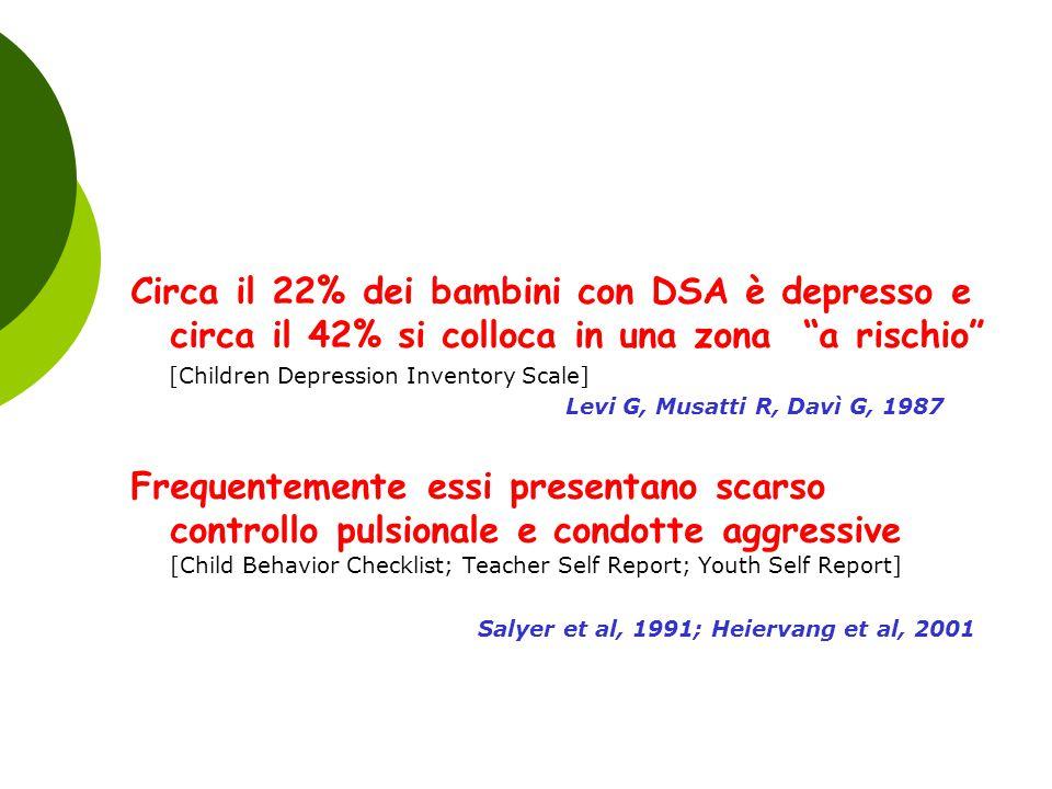 """Circa il 22% dei bambini con DSA è depresso e circa il 42% si colloca in una zona """"a rischio"""" [Children Depression Inventory Scale] Levi G, Musatti R,"""