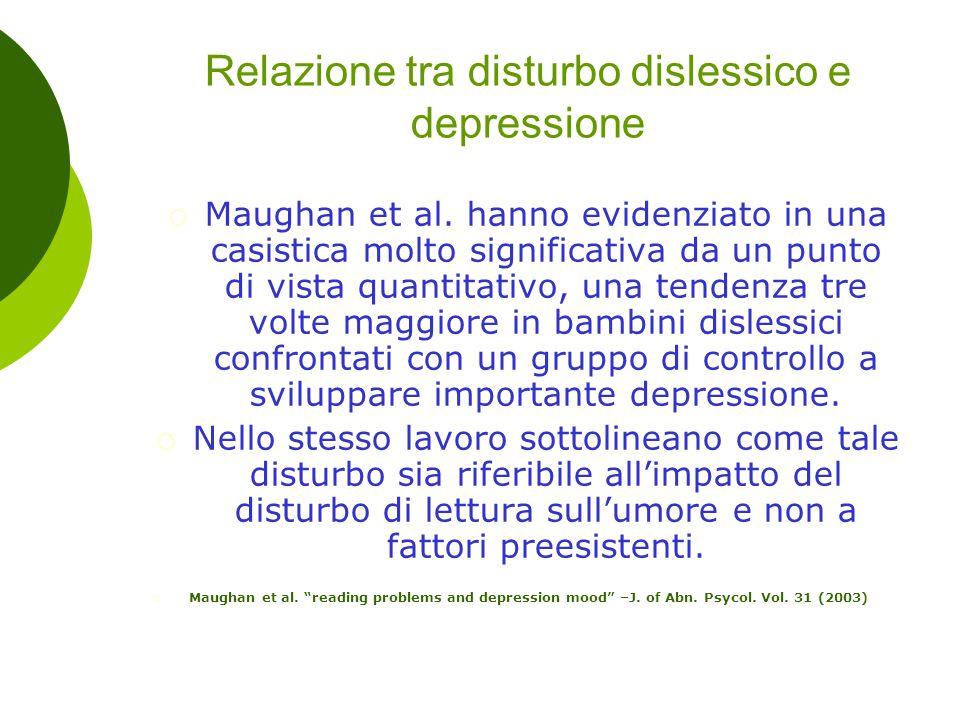 Relazione tra disturbo dislessico e depressione  Maughan et al. hanno evidenziato in una casistica molto significativa da un punto di vista quantitat