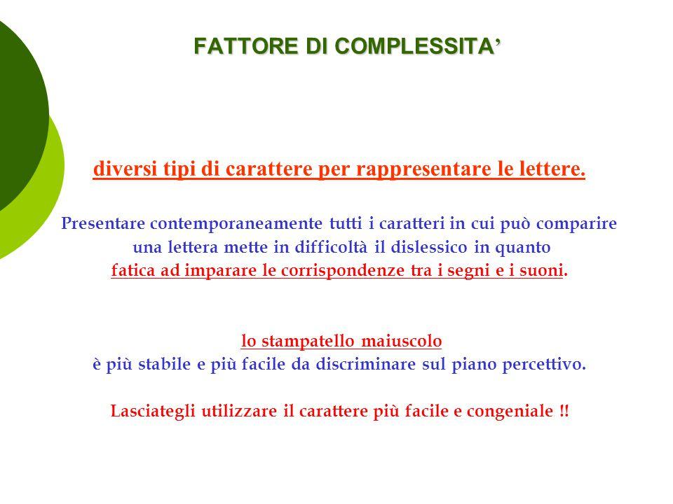FATTORE DI COMPLESSITA ' diversi tipi di carattere per rappresentare le lettere. Presentare contemporaneamente tutti i caratteri in cui può comparire