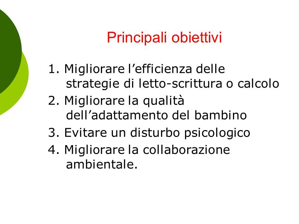 Principali obiettivi 1. Migliorare l'efficienza delle strategie di letto-scrittura o calcolo 2. Migliorare la qualità dell'adattamento del bambino 3.