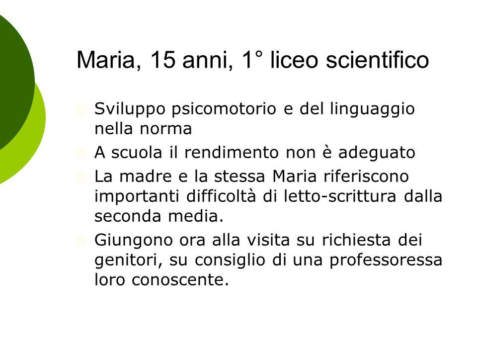 Maria, 15 anni, 1° liceo scientifico  Sviluppo psicomotorio e del linguaggio nella norma  A scuola il rendimento non è adeguato  La madre e la stes