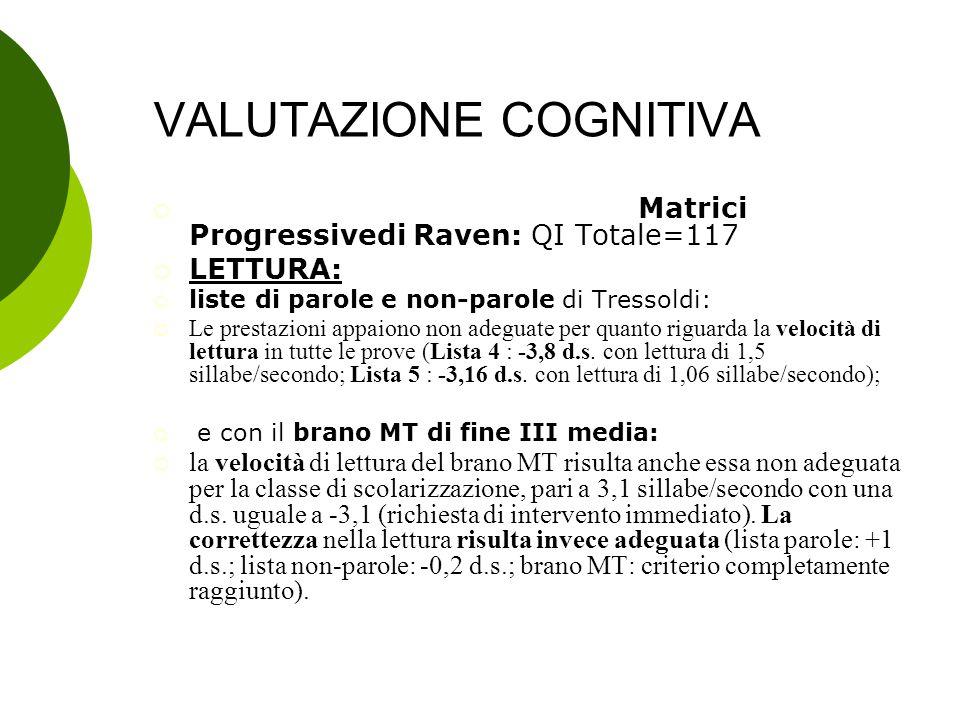 VALUTAZIONE COGNITIVA  Test di intelligenza non verbale Matrici Progressivedi Raven: QI Totale=117  LETTURA:  liste di parole e non-parole di Tress