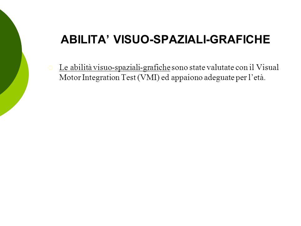 ABILITA' VISUO-SPAZIALI-GRAFICHE  Le abilità visuo-spaziali-grafiche sono state valutate con il Visual Motor Integration Test (VMI) ed appaiono adegu