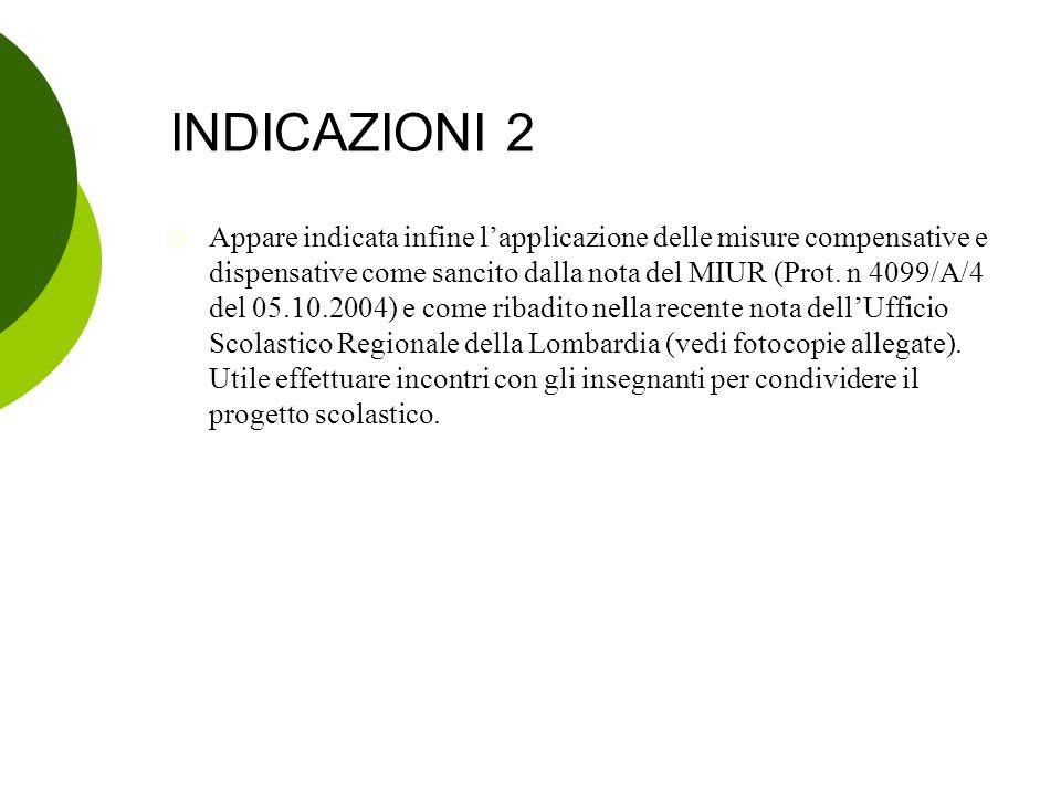 INDICAZIONI 2  Appare indicata infine l'applicazione delle misure compensative e dispensative come sancito dalla nota del MIUR (Prot. n 4099/A/4 del