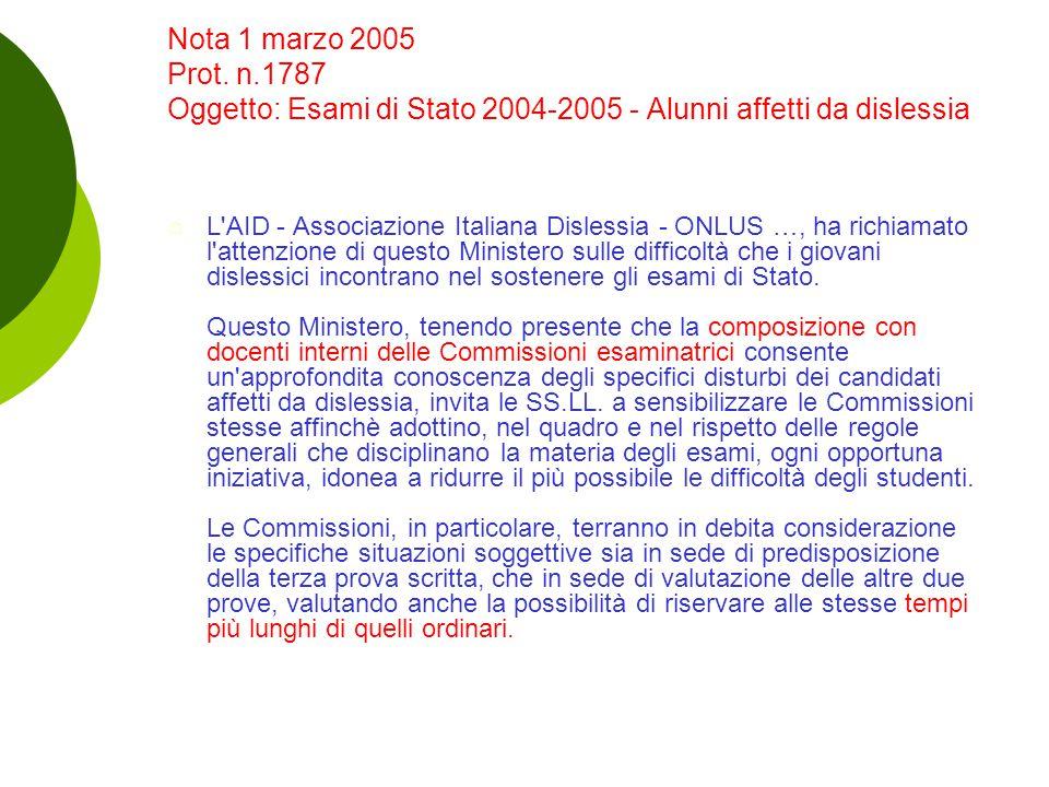 Nota 1 marzo 2005 Prot. n.1787 Oggetto: Esami di Stato 2004-2005 - Alunni affetti da dislessia  L'AID - Associazione Italiana Dislessia - ONLUS …, ha