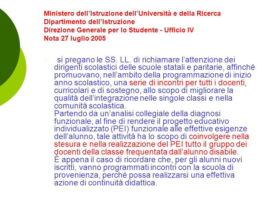 Ministero dell'Istruzione dell'Università e della Ricerca Dipartimento dell'Istruzione Direzione Generale per lo Studente - Ufficio IV Nota 27 luglio