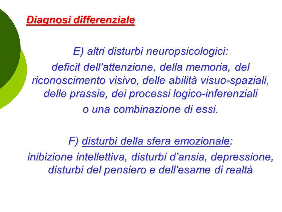 Diagnosi differenziale Diagnosi differenziale E) altri disturbi neuropsicologici: deficit dell'attenzione, della memoria, del riconoscimento visivo, d