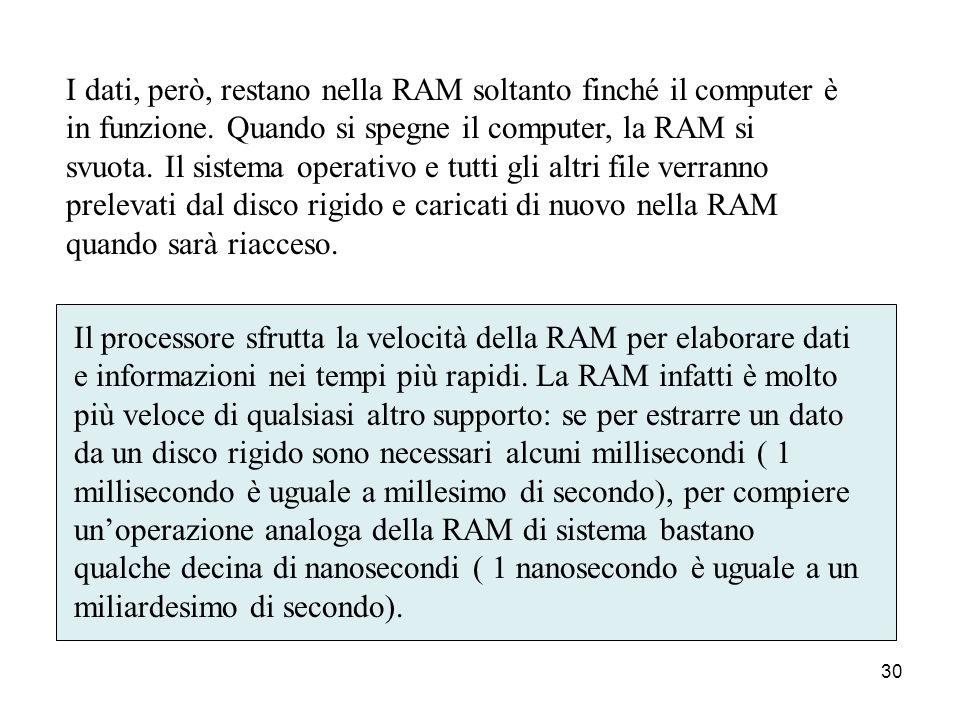 29 La memoria RAM La RAM (Random Access Memory, o memoria ad accesso casuale) è la memoria principale, o memoria centrale, del computer. Si tratta di