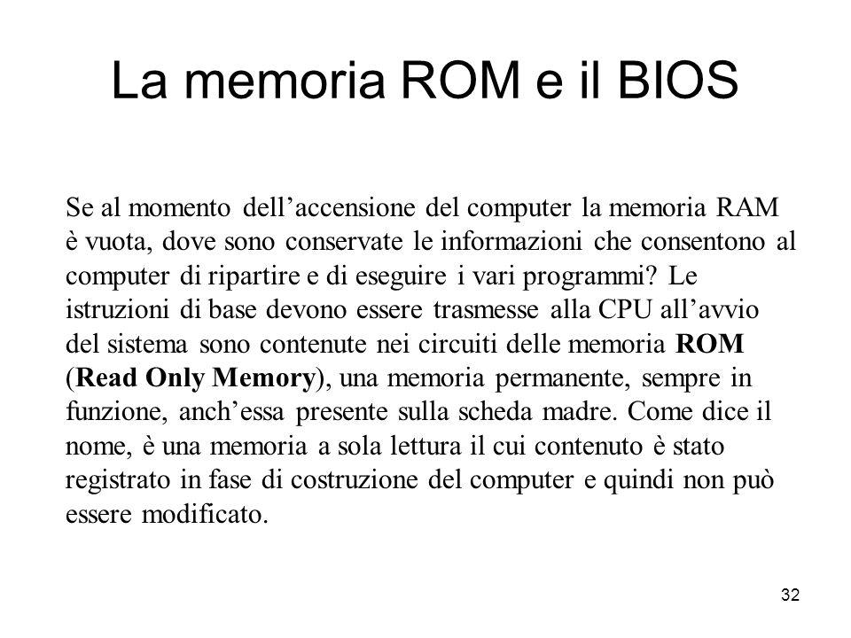 31 Livelli di memoriaDimensioniVelocità d'accesso Memoria di massa (HD)1GB10ms Memoria RAM16MB100ns Memoria Cache256KB10ns