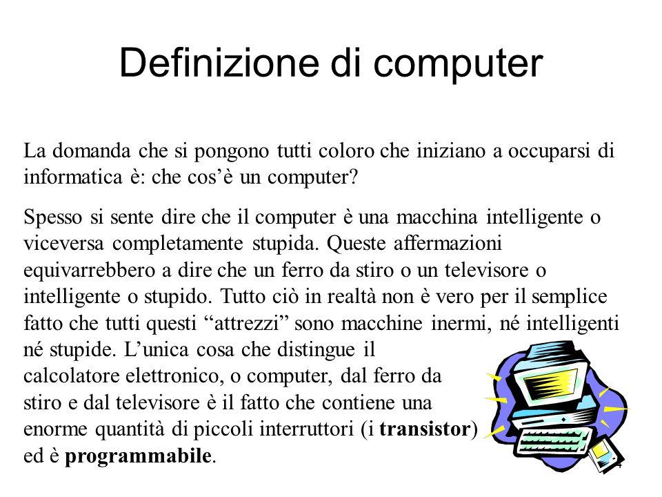 4 Definizione di computer La domanda che si pongono tutti coloro che iniziano a occuparsi di informatica è: che cos'è un computer.