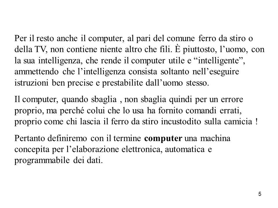 4 Definizione di computer La domanda che si pongono tutti coloro che iniziano a occuparsi di informatica è: che cos'è un computer? Spesso si sente dir