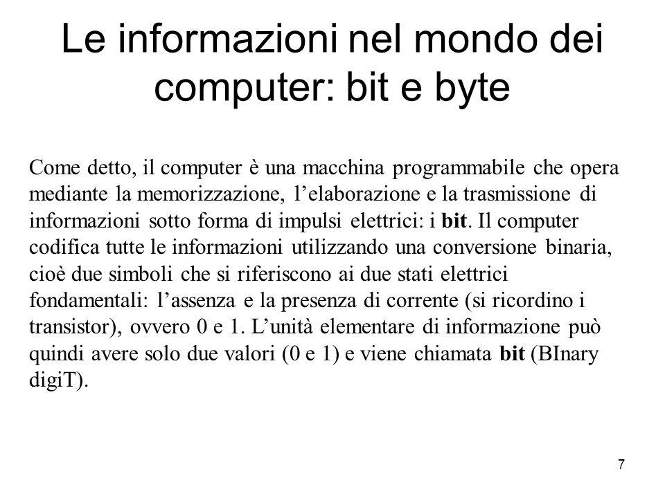 7 Le informazioni nel mondo dei computer: bit e byte Come detto, il computer è una macchina programmabile che opera mediante la memorizzazione, l'elaborazione e la trasmissione di informazioni sotto forma di impulsi elettrici: i bit.