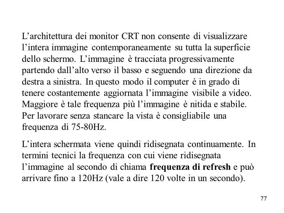 76 I monitor a tubo catodico si basano sulla stessa tecnica di funzionamento dei televisori. Lo schermo di vetro rappresenta la parte finale del tubo