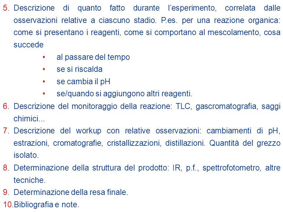 5.Descrizione di quanto fatto durante l'esperimento, correlata dalle osservazioni relative a ciascuno stadio.