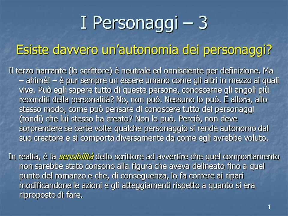 1 I Personaggi – 3 Esiste davvero un'autonomia dei personaggi.
